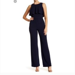 vince camuto 16 jumpsuit navy crepe ruffle bodice